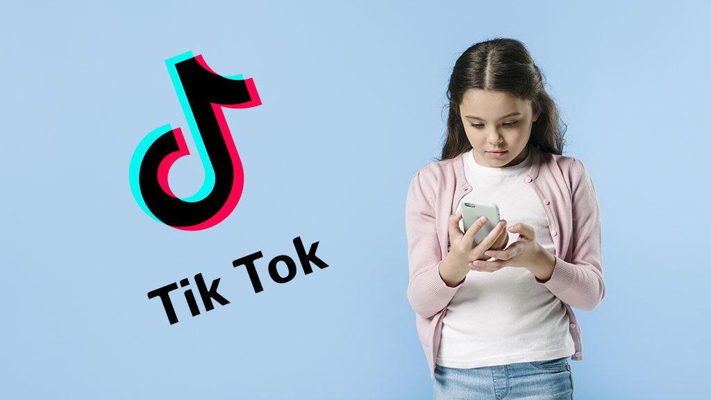 young girl using phone studio
